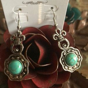 Turquoise and silver color earrings